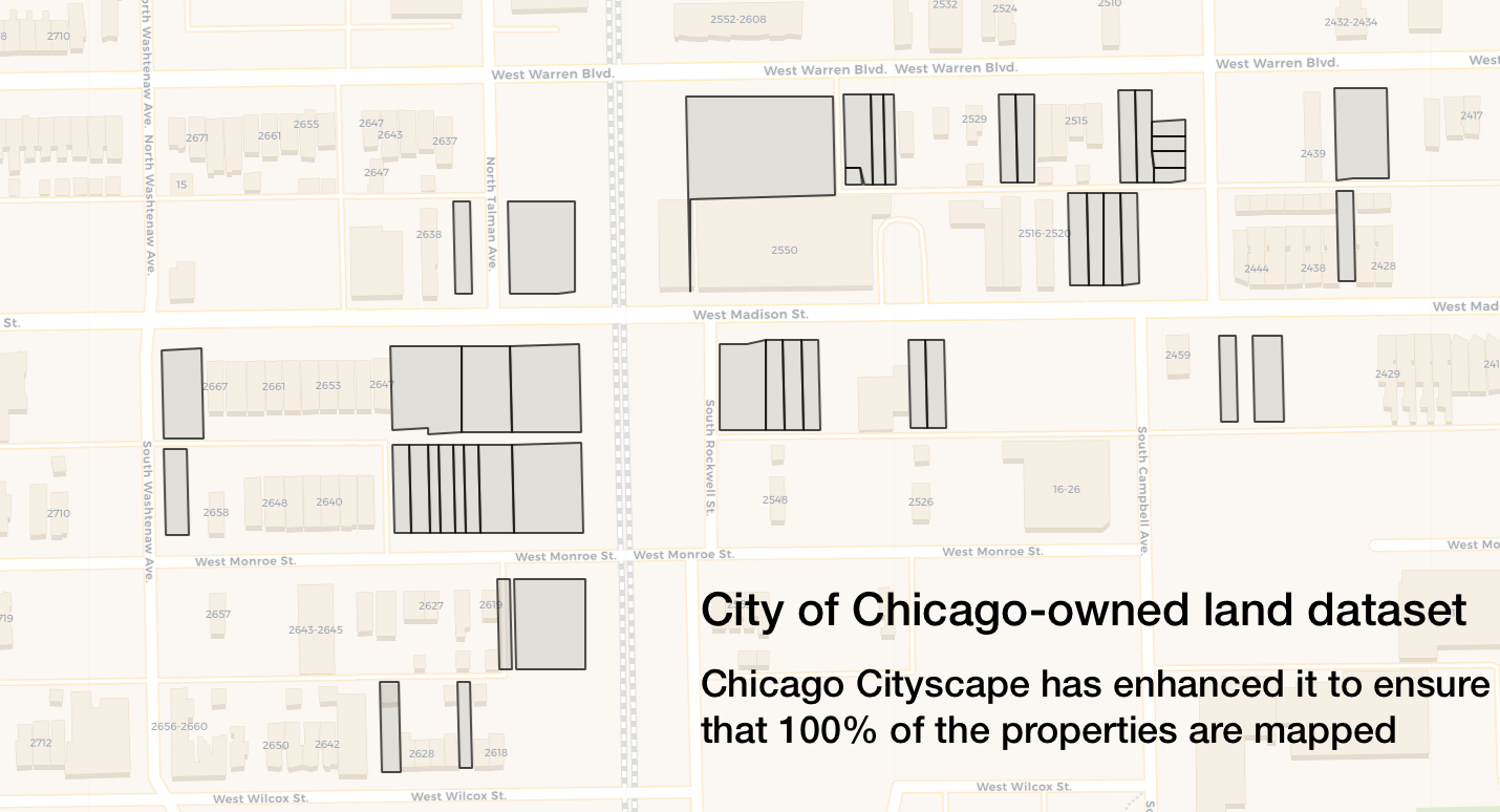 Partial map showing some of the Chicago-owned properties