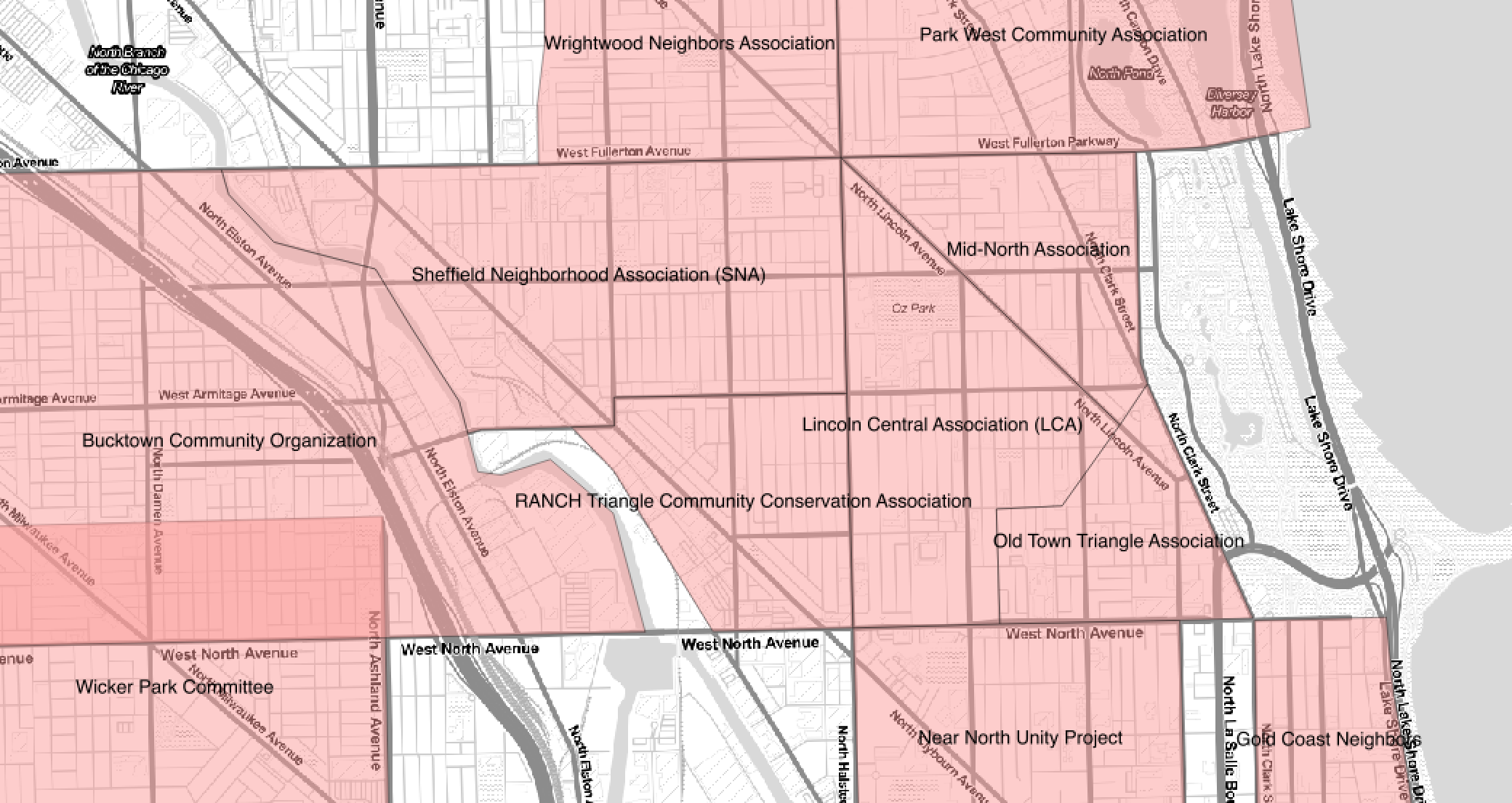 Screenshot of Chicago neighborhood groups map