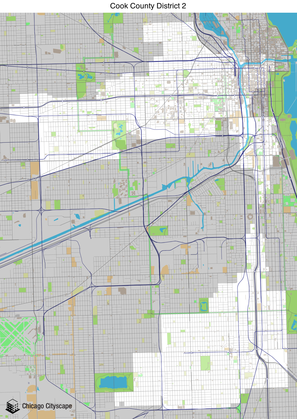 Map of building projects properties and businesses in District 2