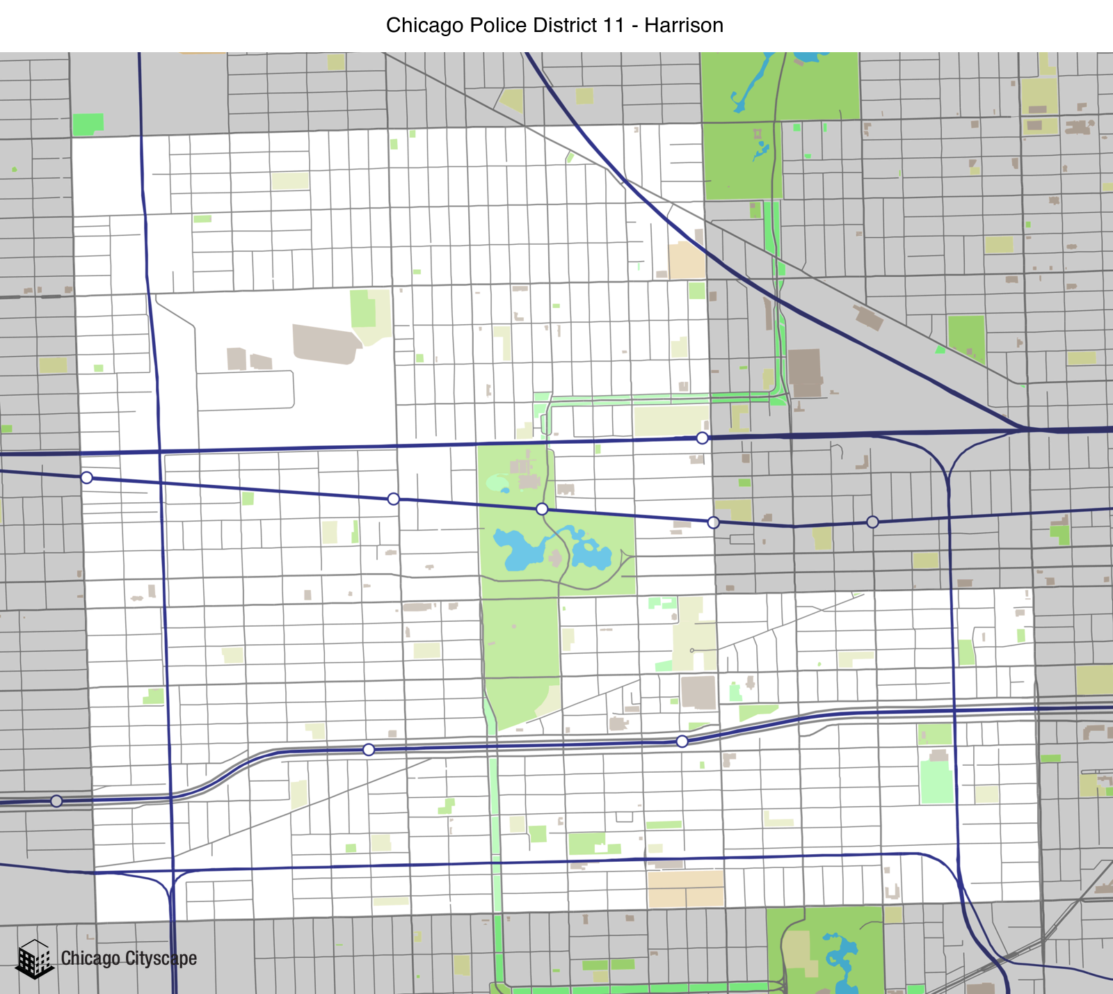 map of building projects properties and businesses in district