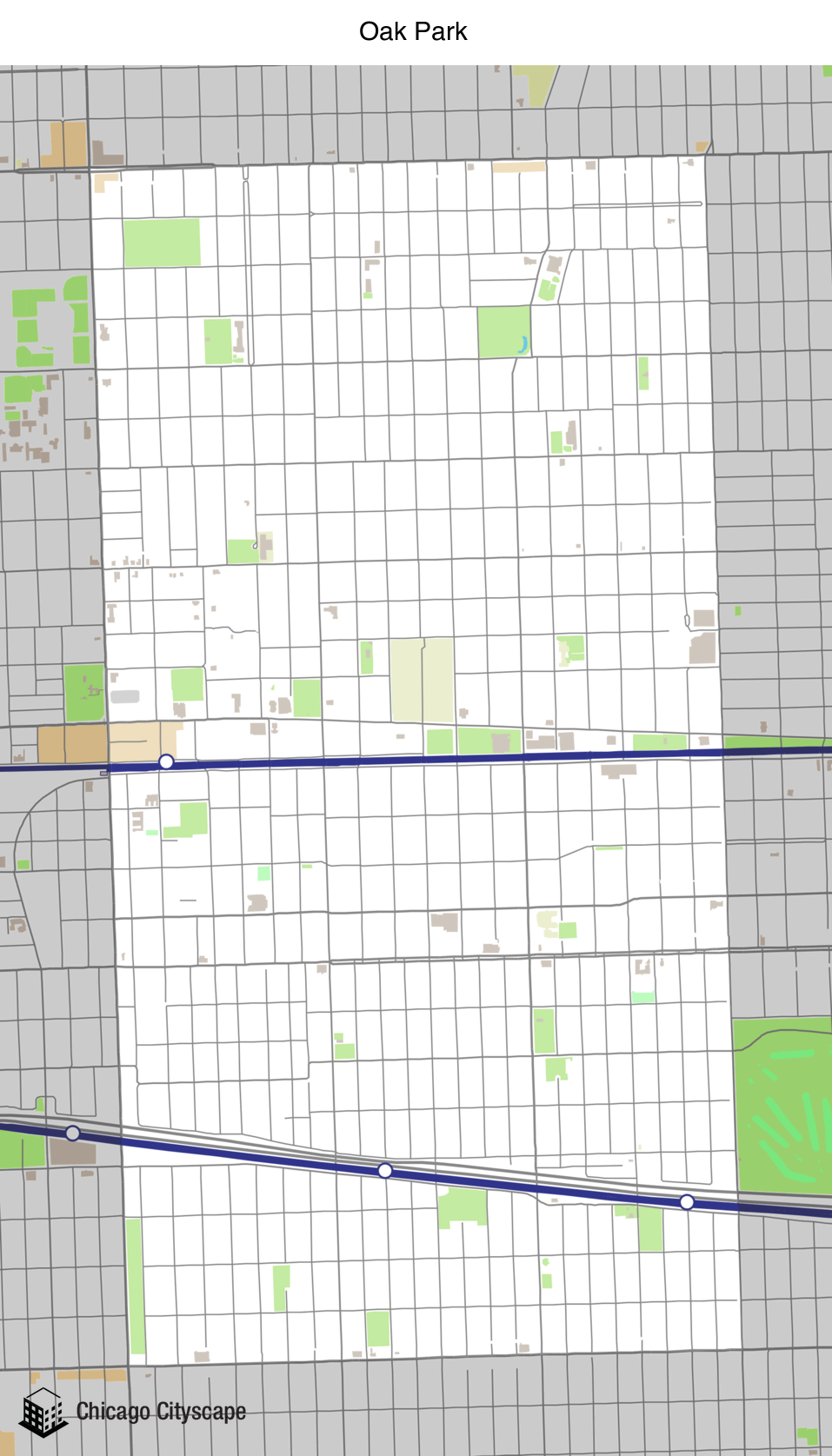 Oak Park Chicago Map.Chicago Cityscape Map Of Building Projects Properties And