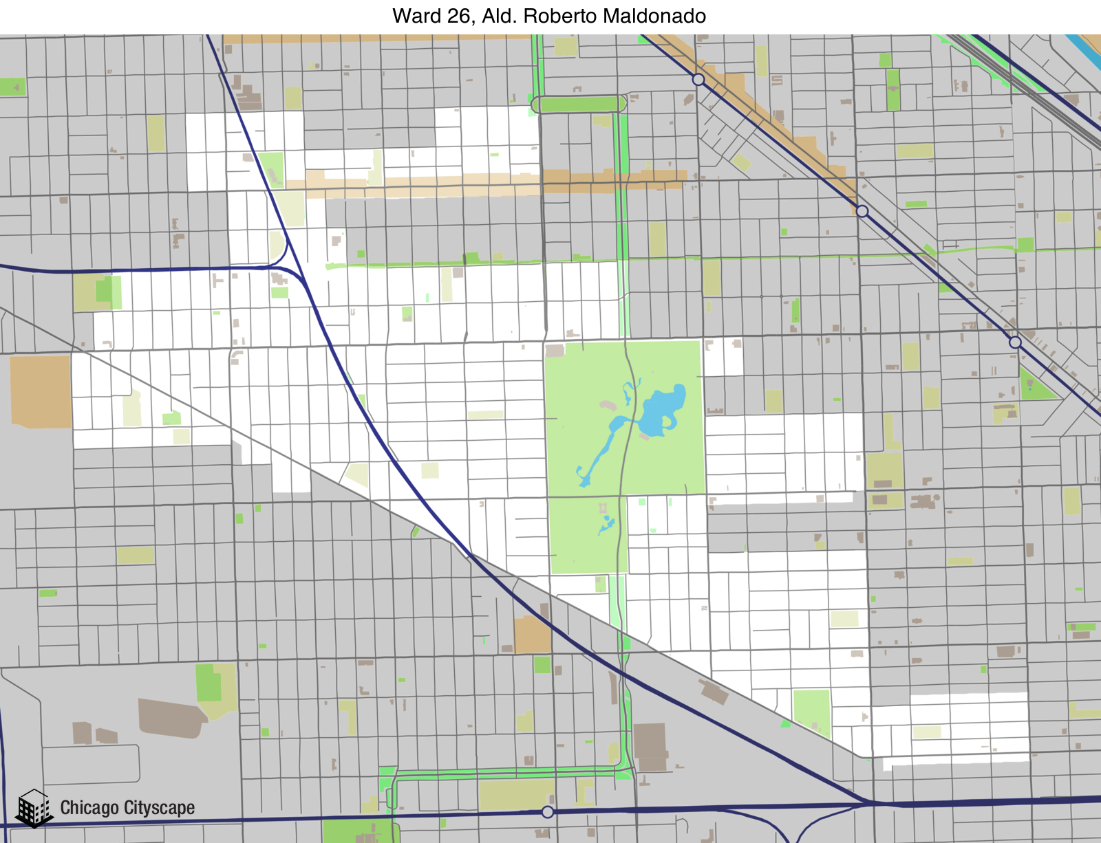 Map of building projects properties and businesses in 26th Ward