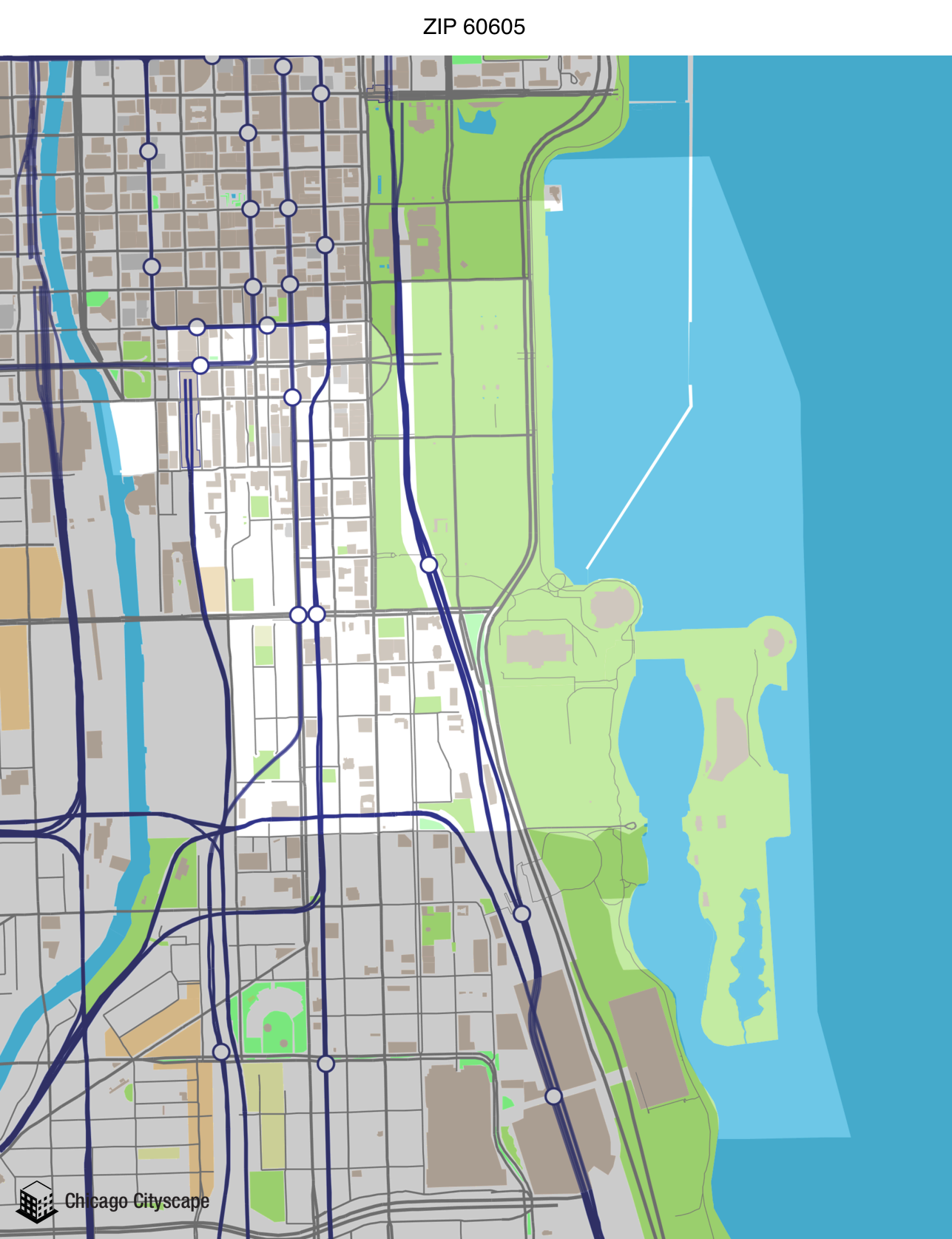 Map of building projects properties and businesses in 60605 ZIP Code
