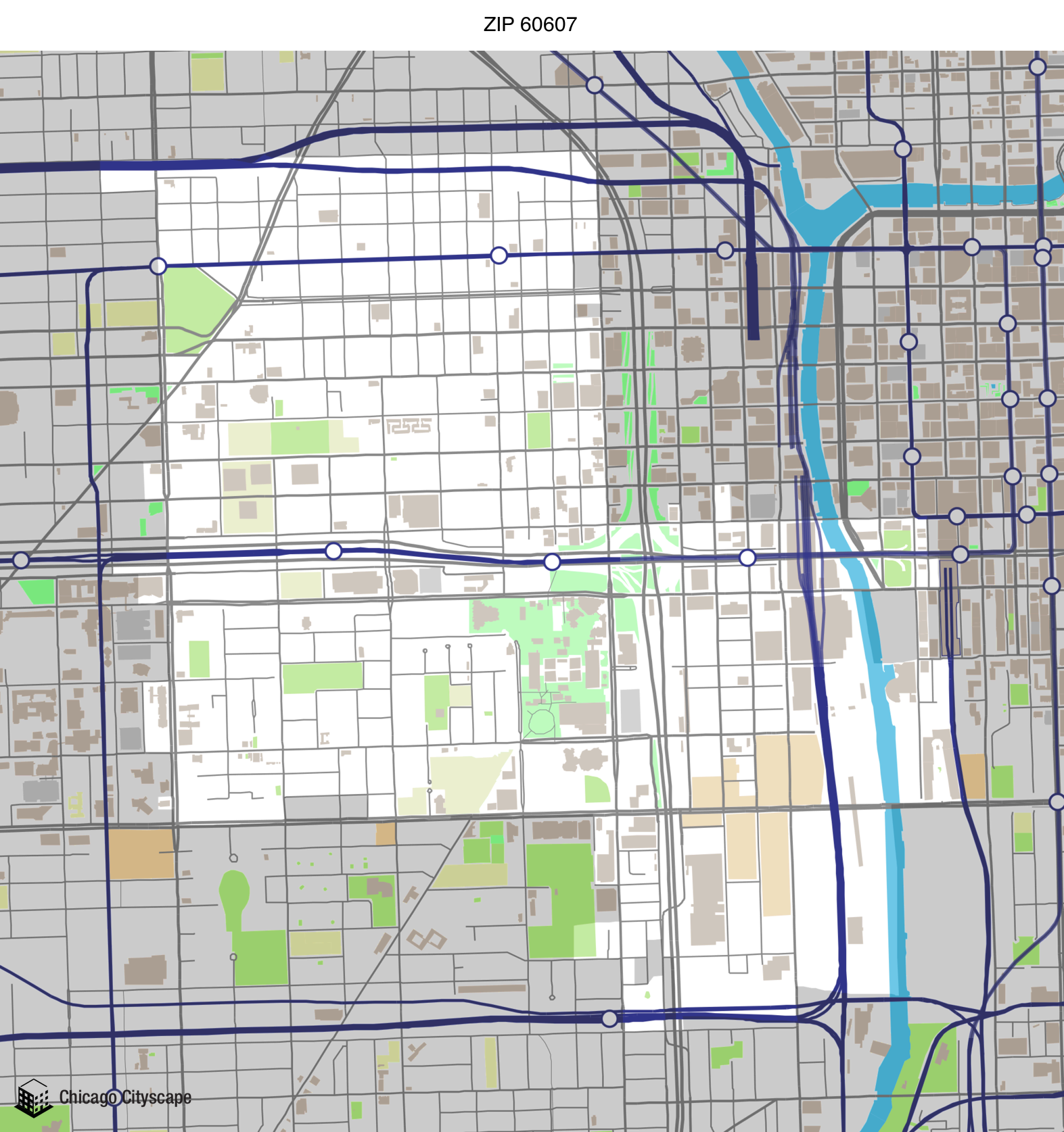 Map of building projects properties and businesses in 60607 ZIP Code