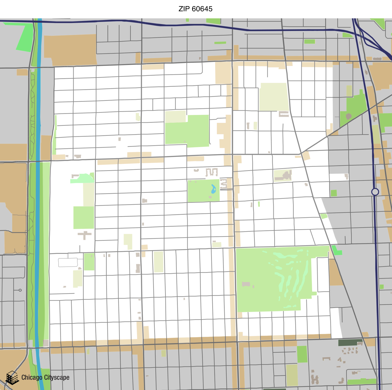 Map of building projects properties and businesses in 60645 ZIP Code