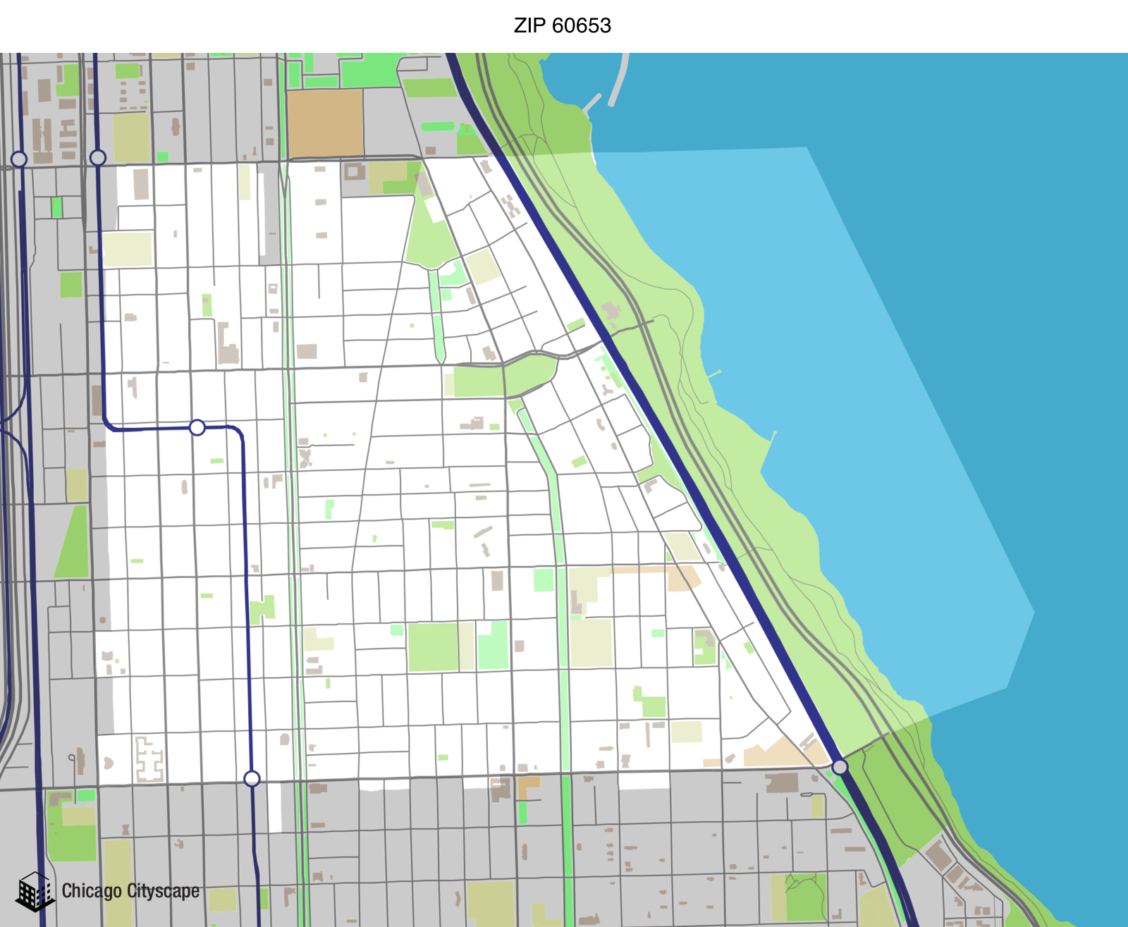 map of 60653 zip code designed by chicago cityscape