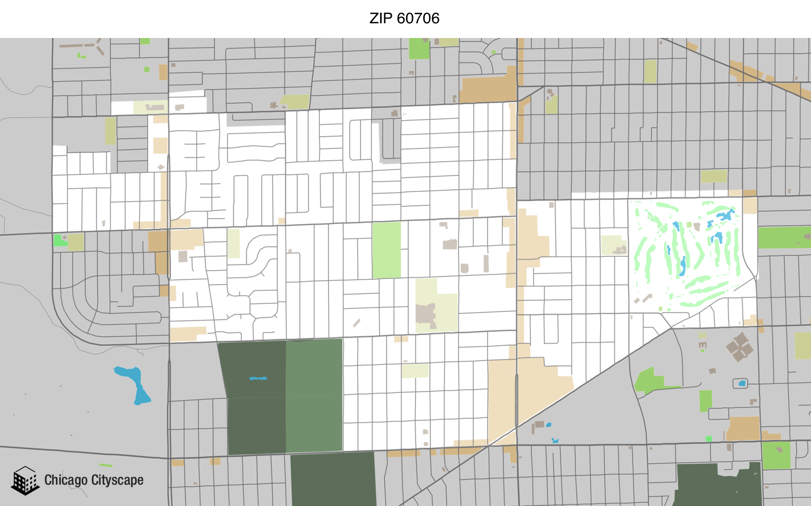 Map of building projects properties and businesses in 60706 ZIP Code