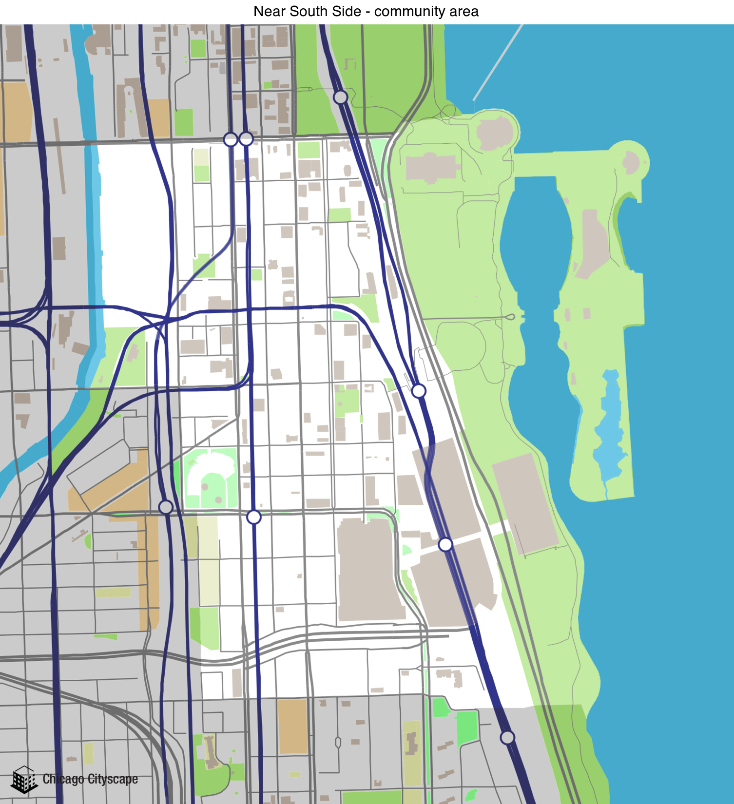 Map of building projects properties and businesses in Near South