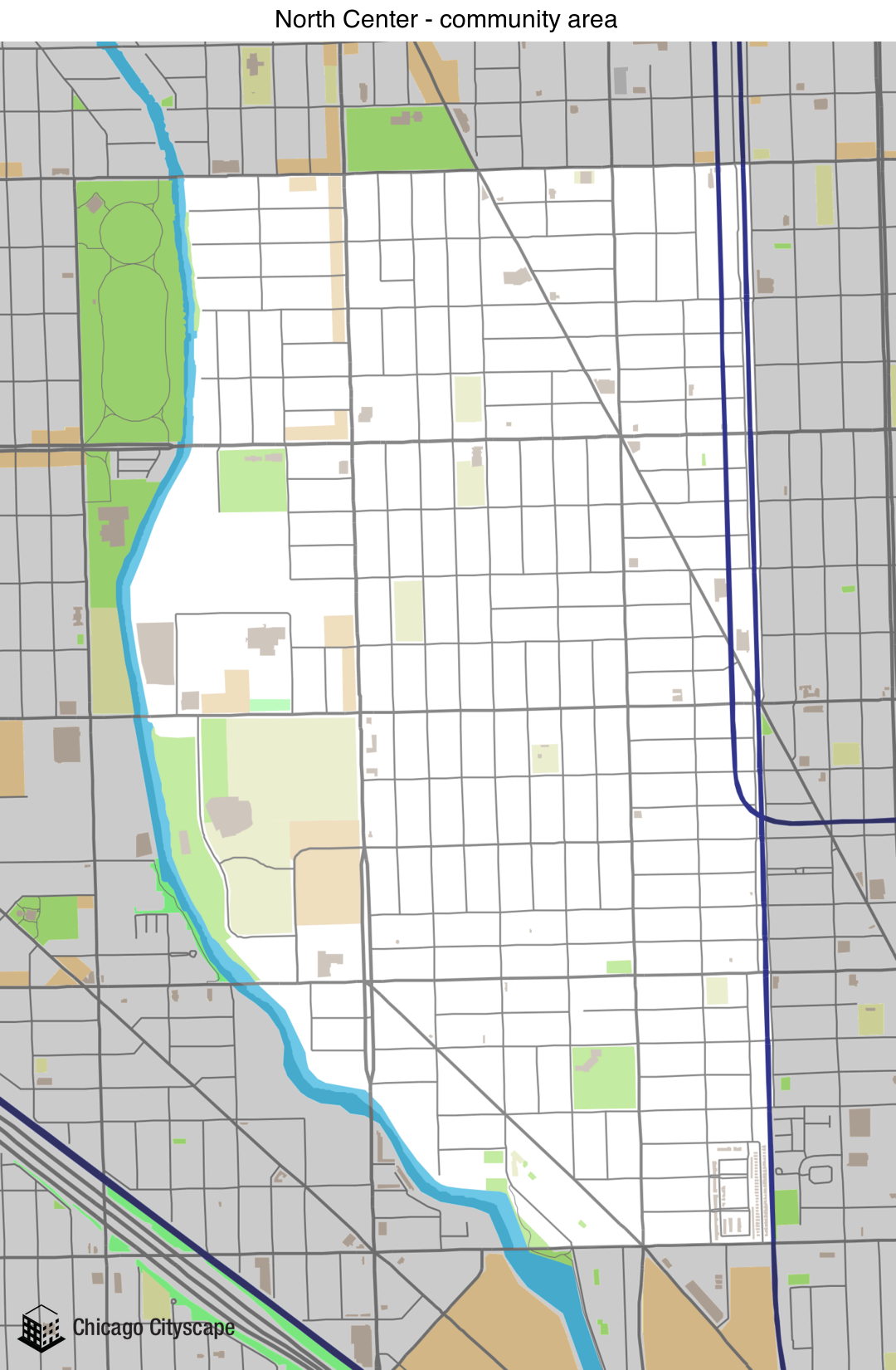Map of NORTH CENTER Community Area designed by Chicago Cityscape