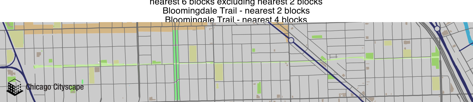 Map of Bloomingdale Trail Custom Place designed by Chicago Cityscape