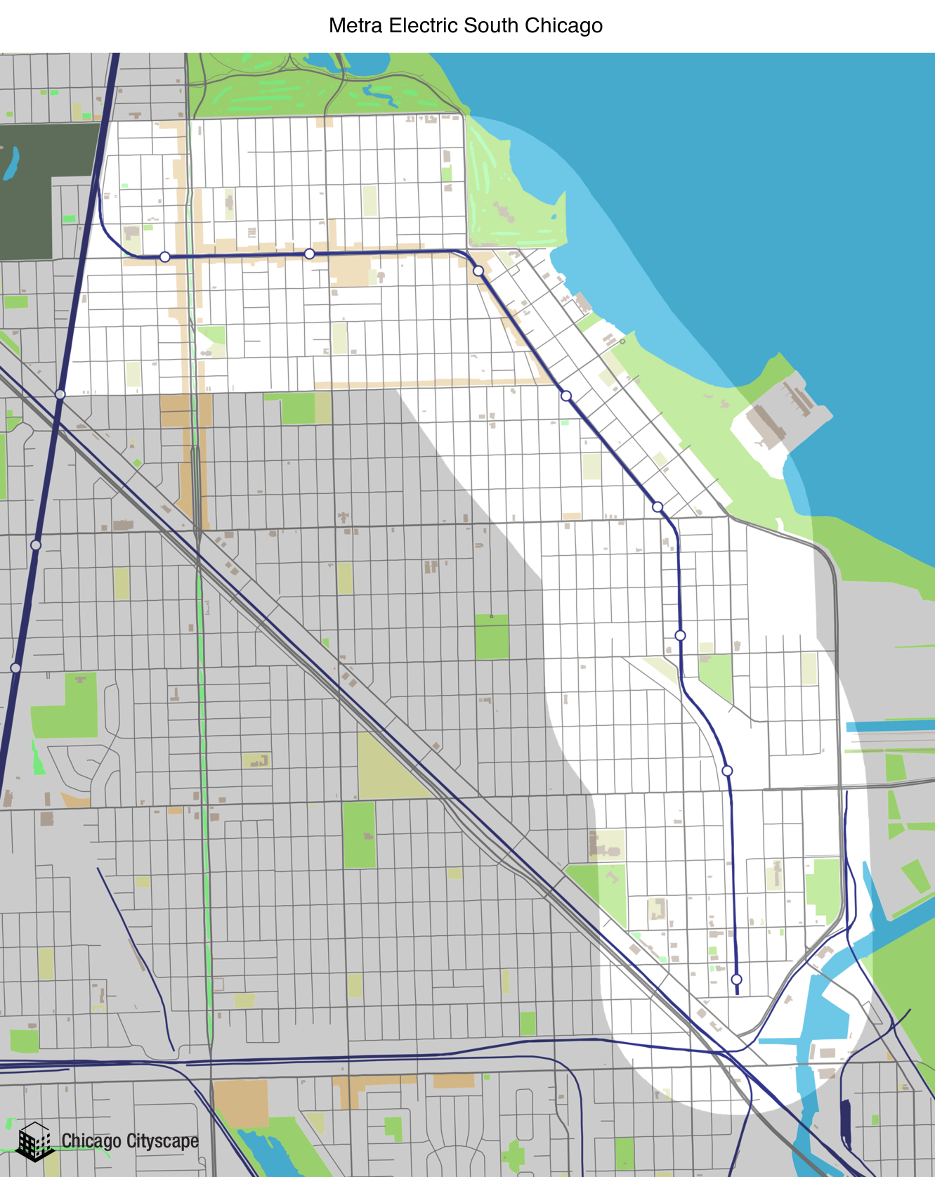 Map of building projects properties and businesses in the Metra