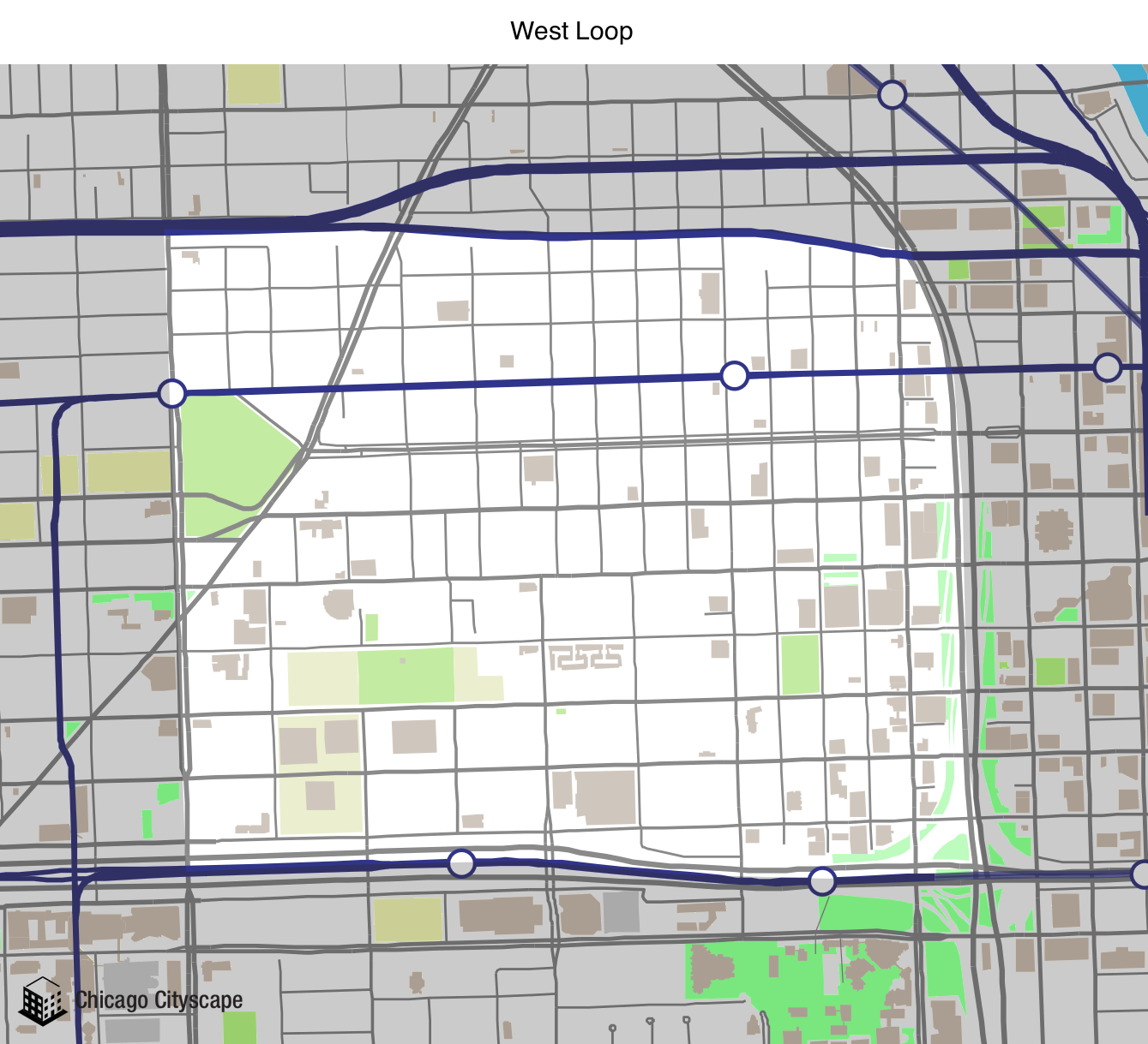 Map Of West Loop Chicago Chicago Cityscape   Map of building projects, properties, and