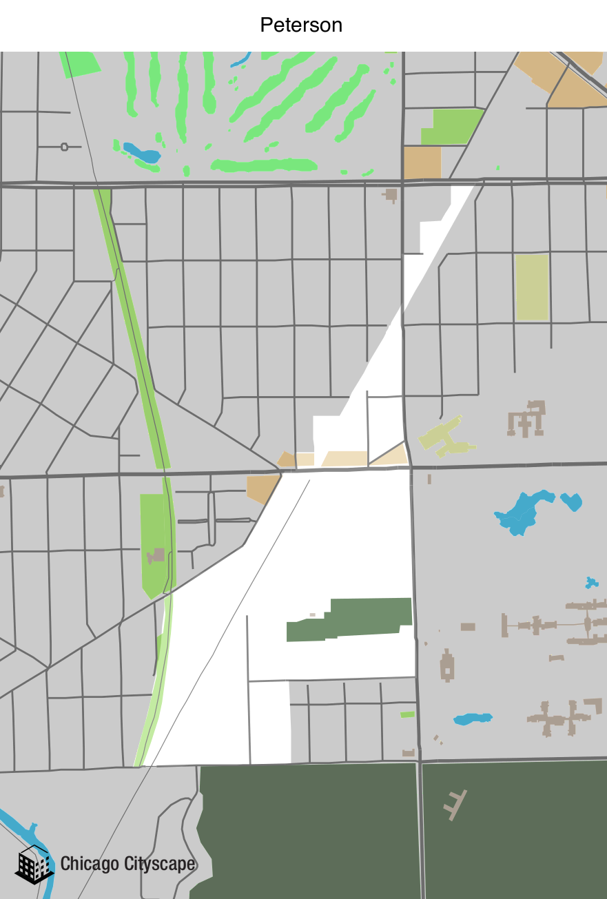 Map of Peterson Industrial Corridor designed by Chicago Cityscape