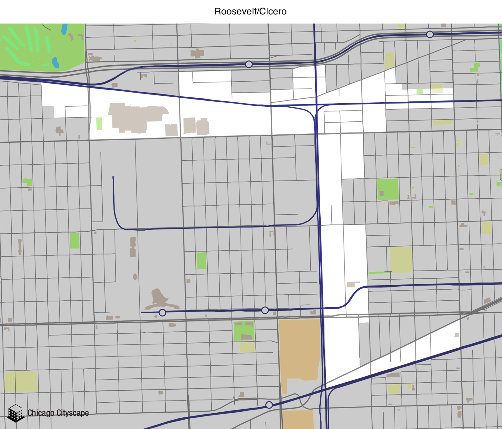 Map of building projects properties and businesses in Roosevelt