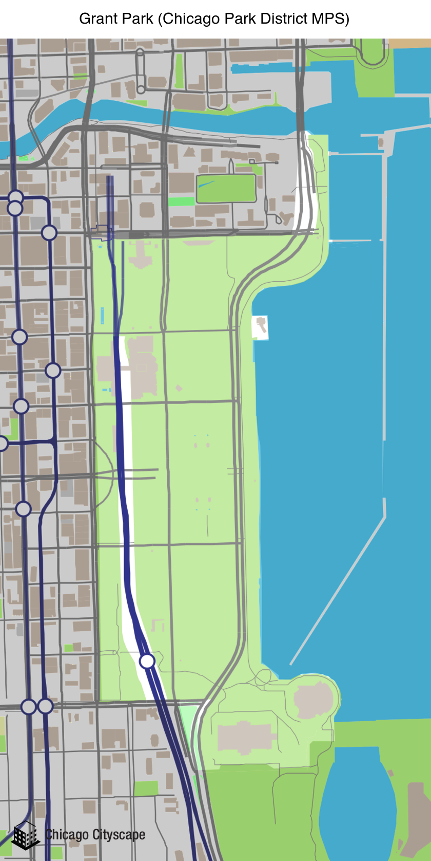 Grant Park Map Chicago Cityscape   Map of building projects, properties, and