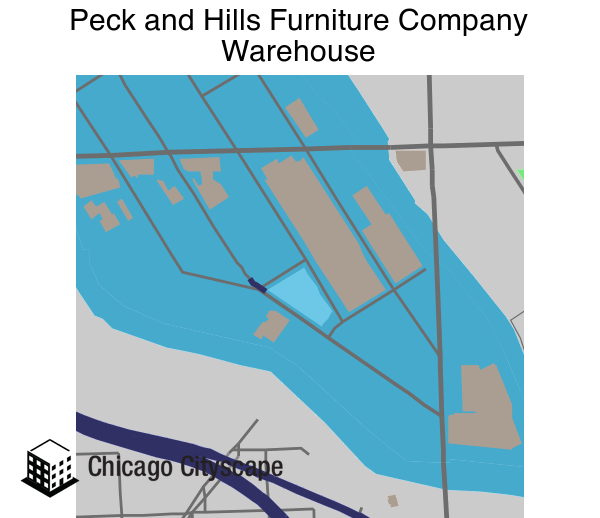 Map Of Peck And Hills Furniture Company Warehouse Designed By Chicago Cityscape