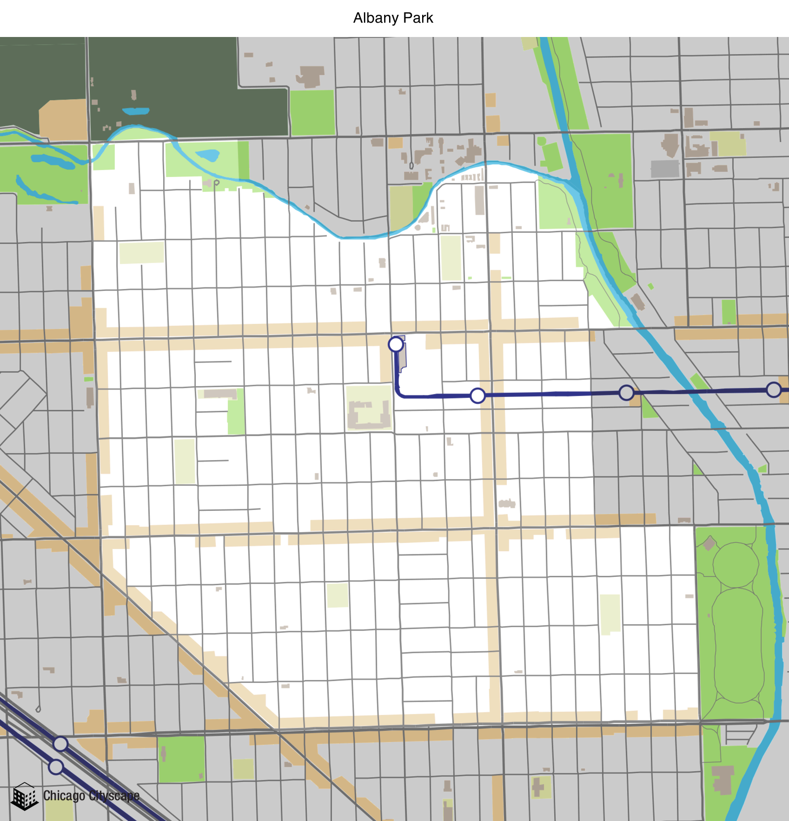 map of albany park neighborhood designed by chicago cityscape