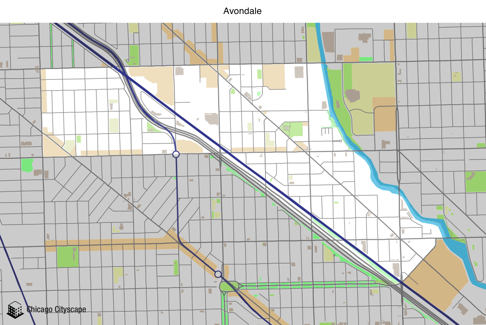 Map of building projects properties and businesses in Avondale
