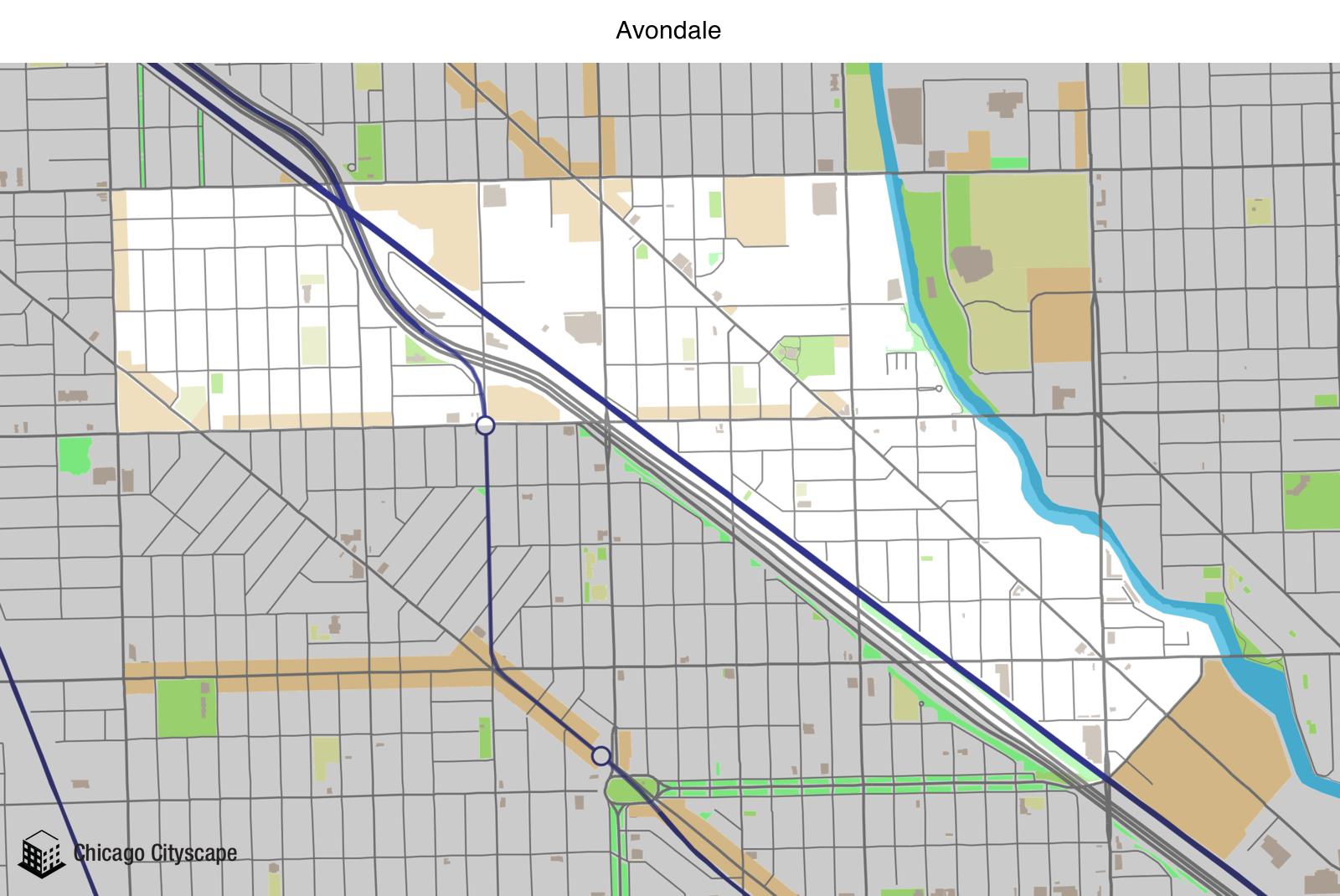 map of avondale neighborhood designed by chicago cityscape