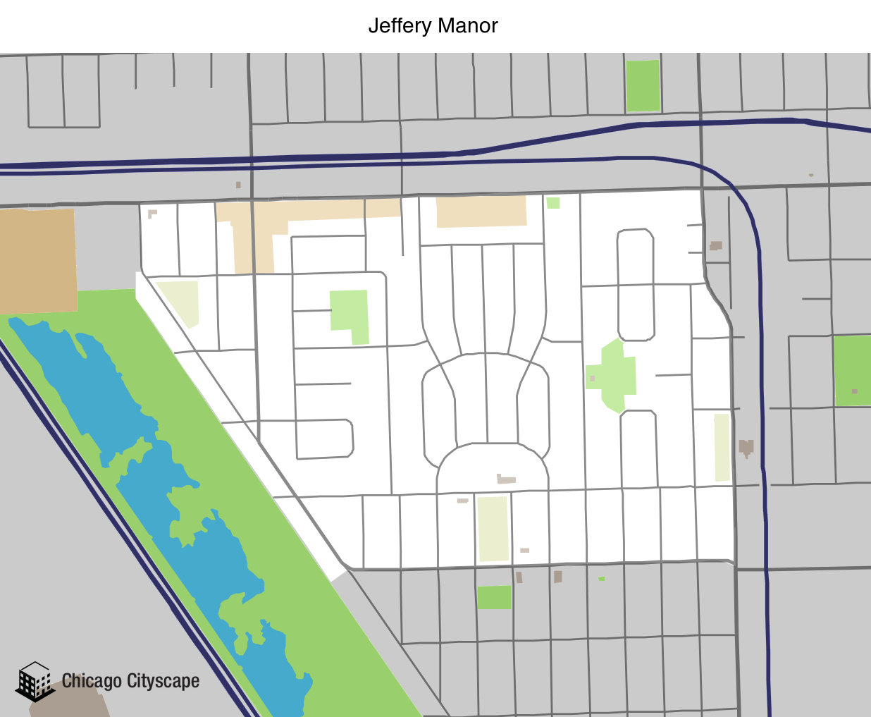 Map of Jeffery Manor Neighborhood designed by Chicago Cityscape
