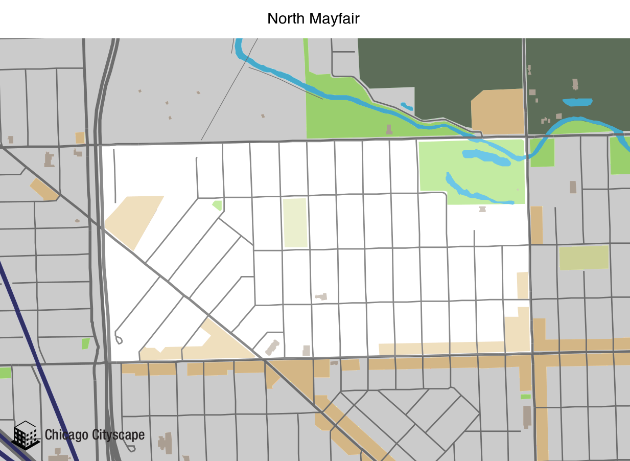 Map of North Mayfair Neighborhood designed by Chicago Cityscape