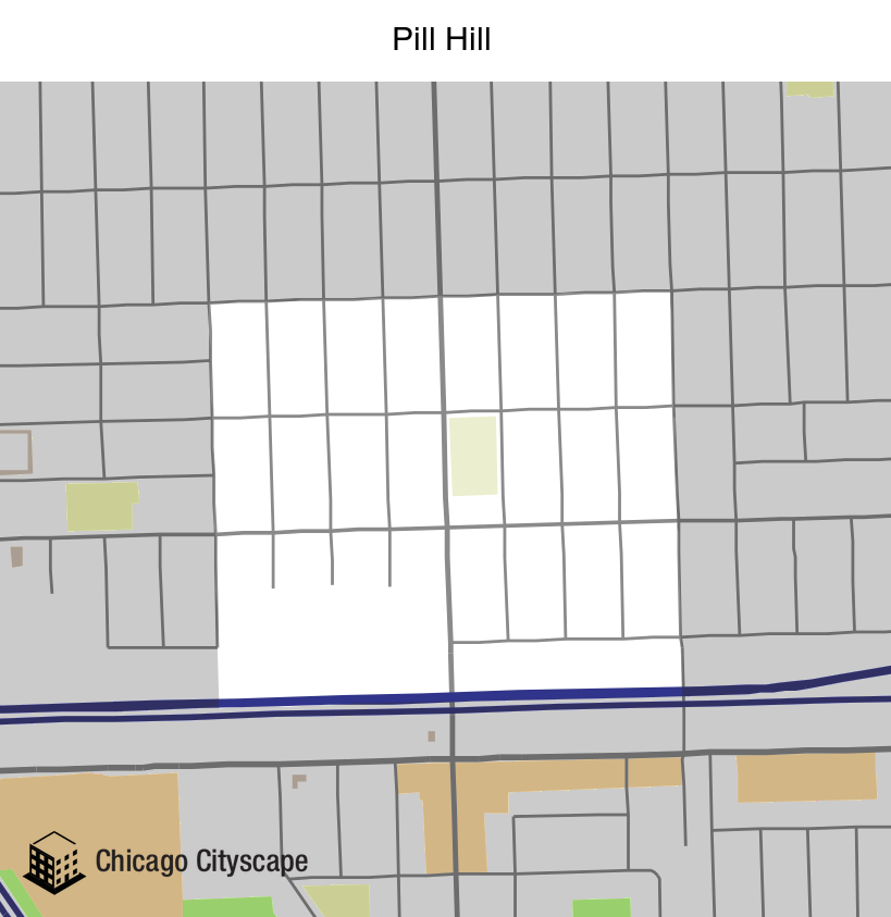 Map of Pill Hill Neighborhood designed by Chicago Cityscape