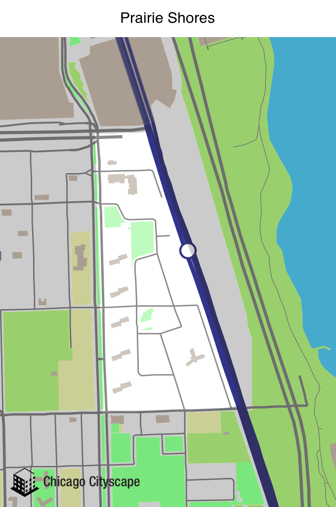 Map of Prairie Shores Neighborhood designed by Chicago Cityscape