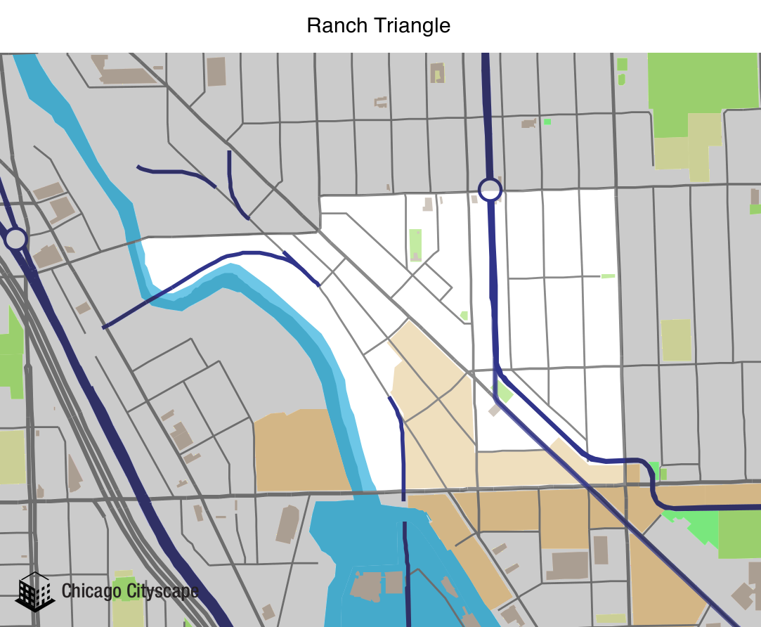 Map of Ranch Triangle Neighborhood designed by Chicago Cityscape