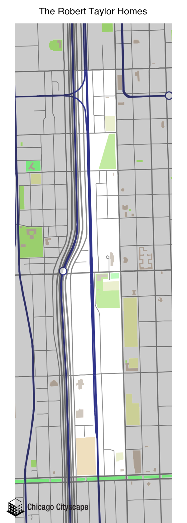 map of the robert taylor homes neighborhood designed by chicago cityscape