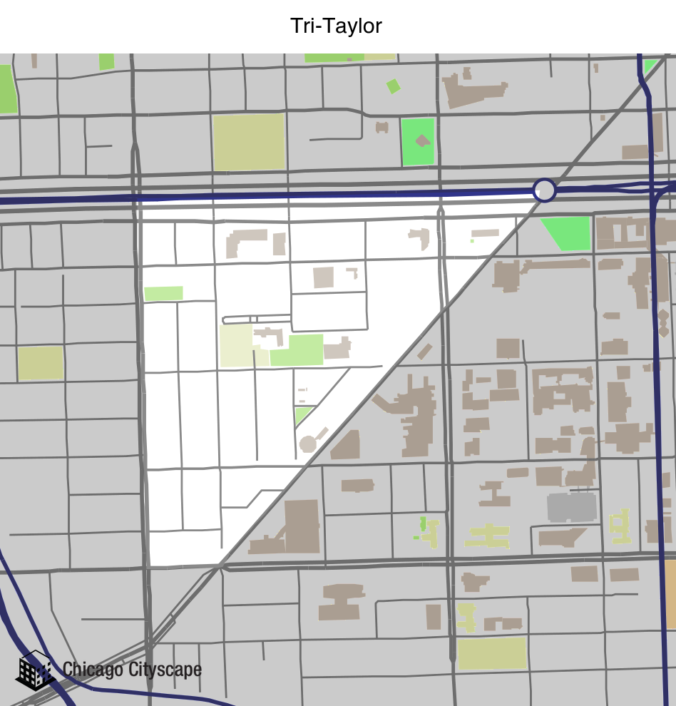 Map of building projects properties and businesses in TriTaylor