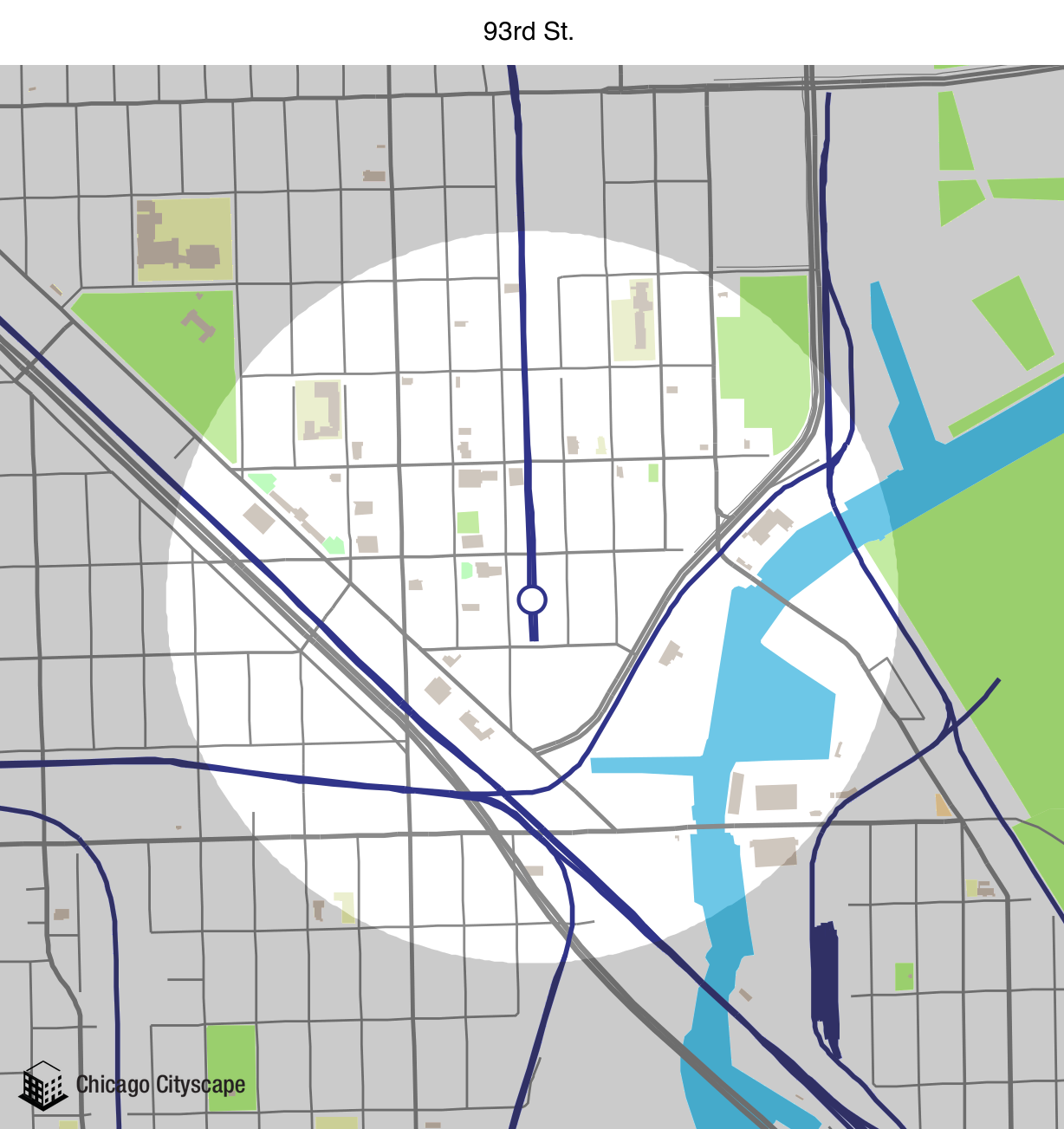 Map of building projects properties and businesses near the 93rd
