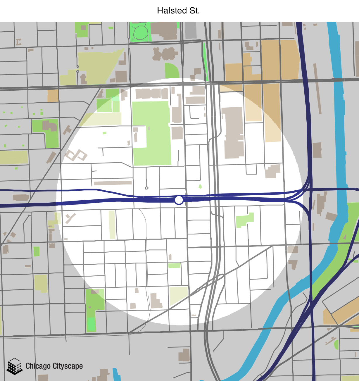 Chicago Map Streets.Chicago Cityscape Map Of Building Projects Properties And