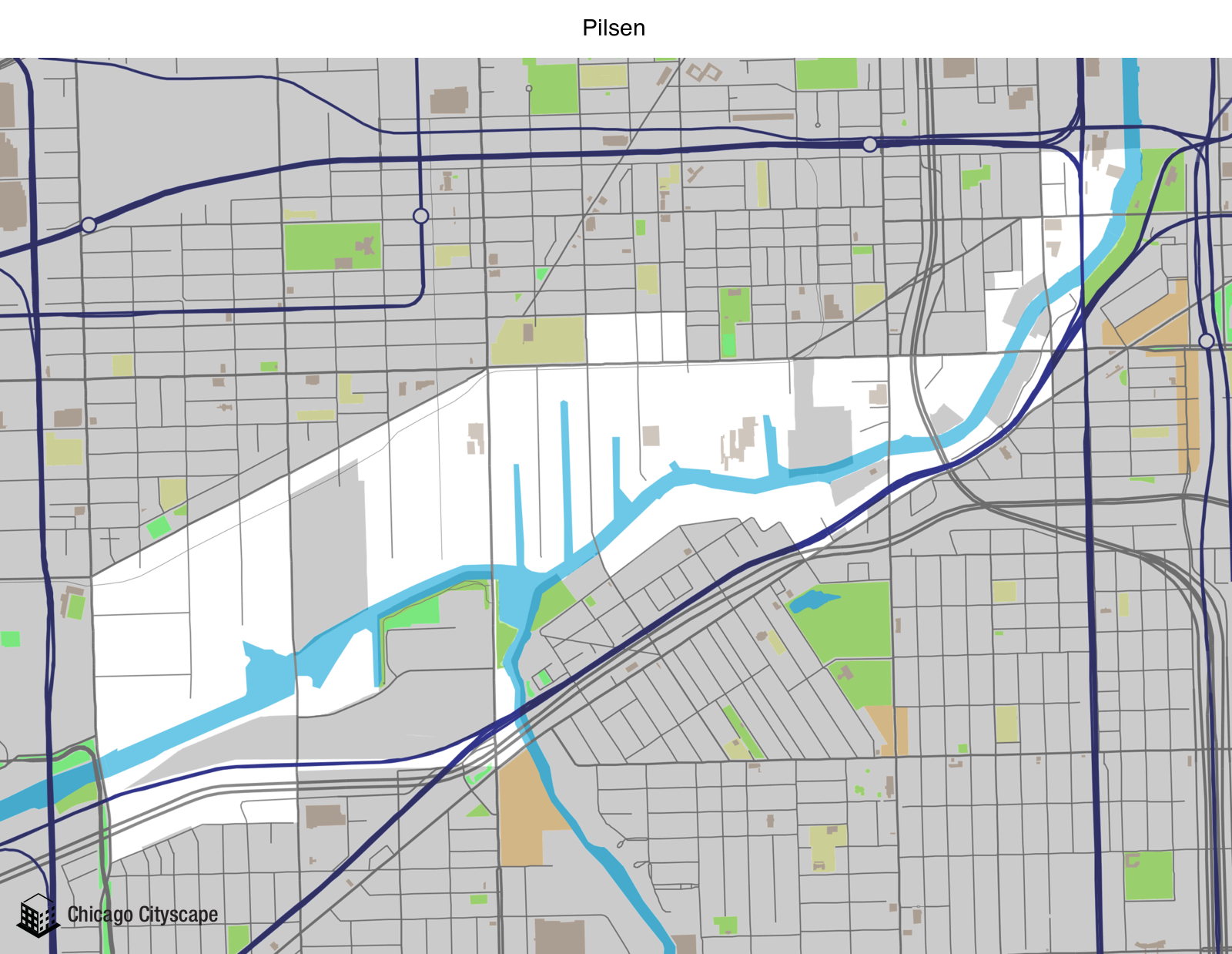 Map of building projects properties and businesses in Pilsen